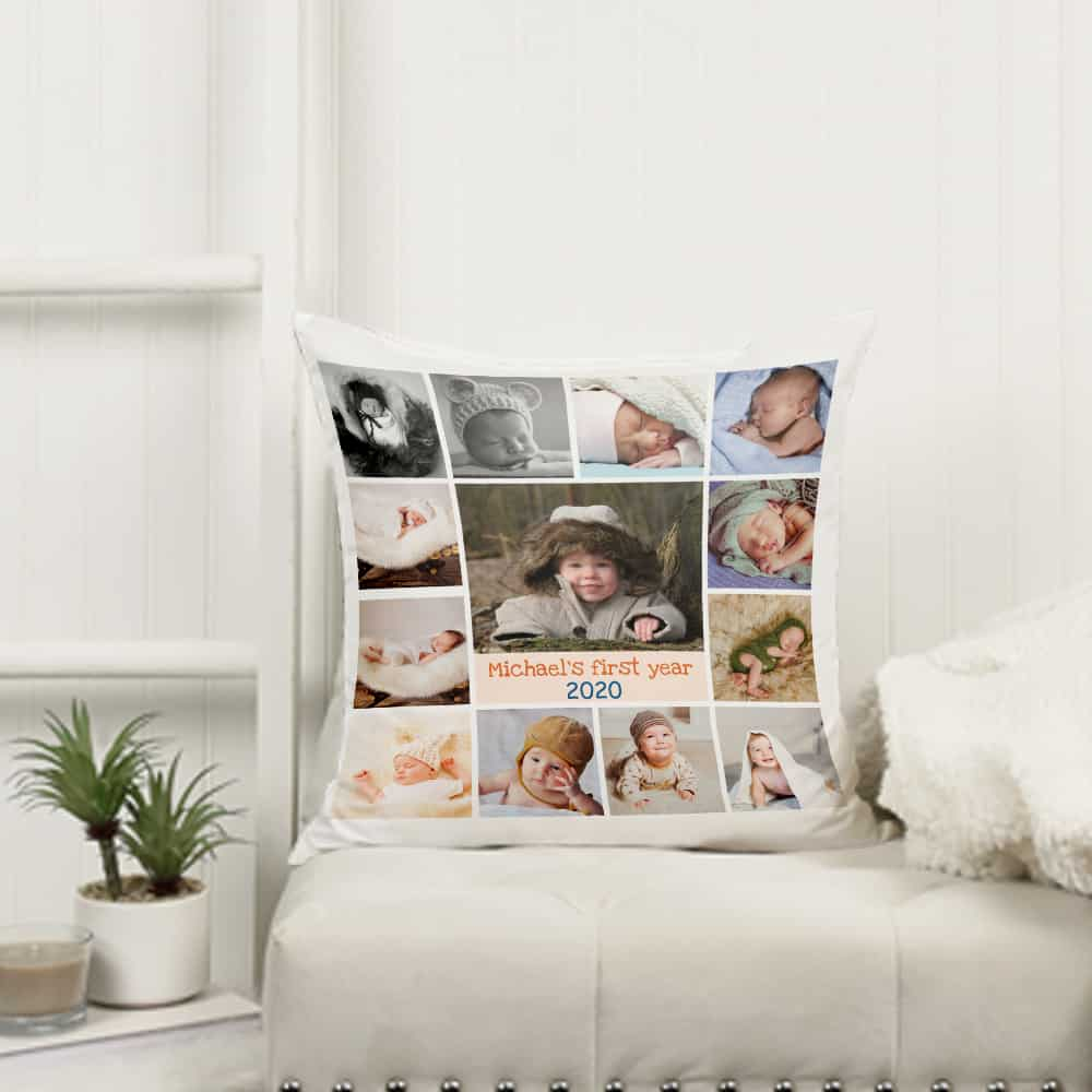 Baby's First Year Photo Collage Throw Pillow