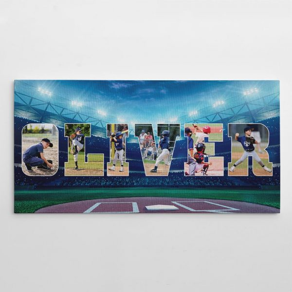 Baseball Custom Name Photo Collage Canvas Print