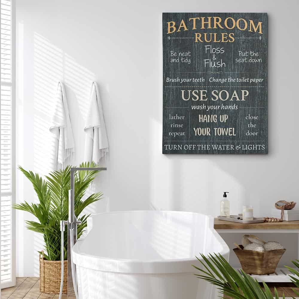 Bathroom Rules Sign Canvas Print