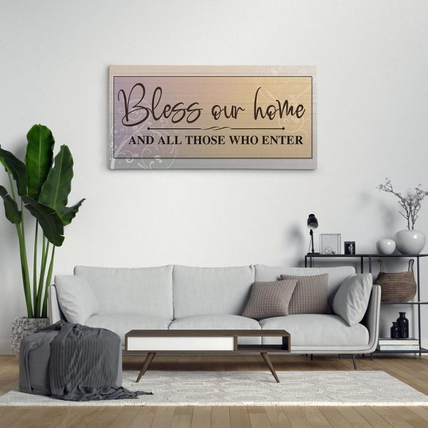 Bless Our Home And All Those Who Enter Canvas Print