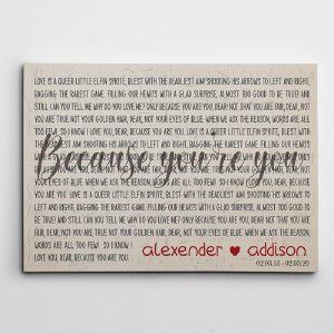 custom song lyrics canvas print - anniversary gift for couples
