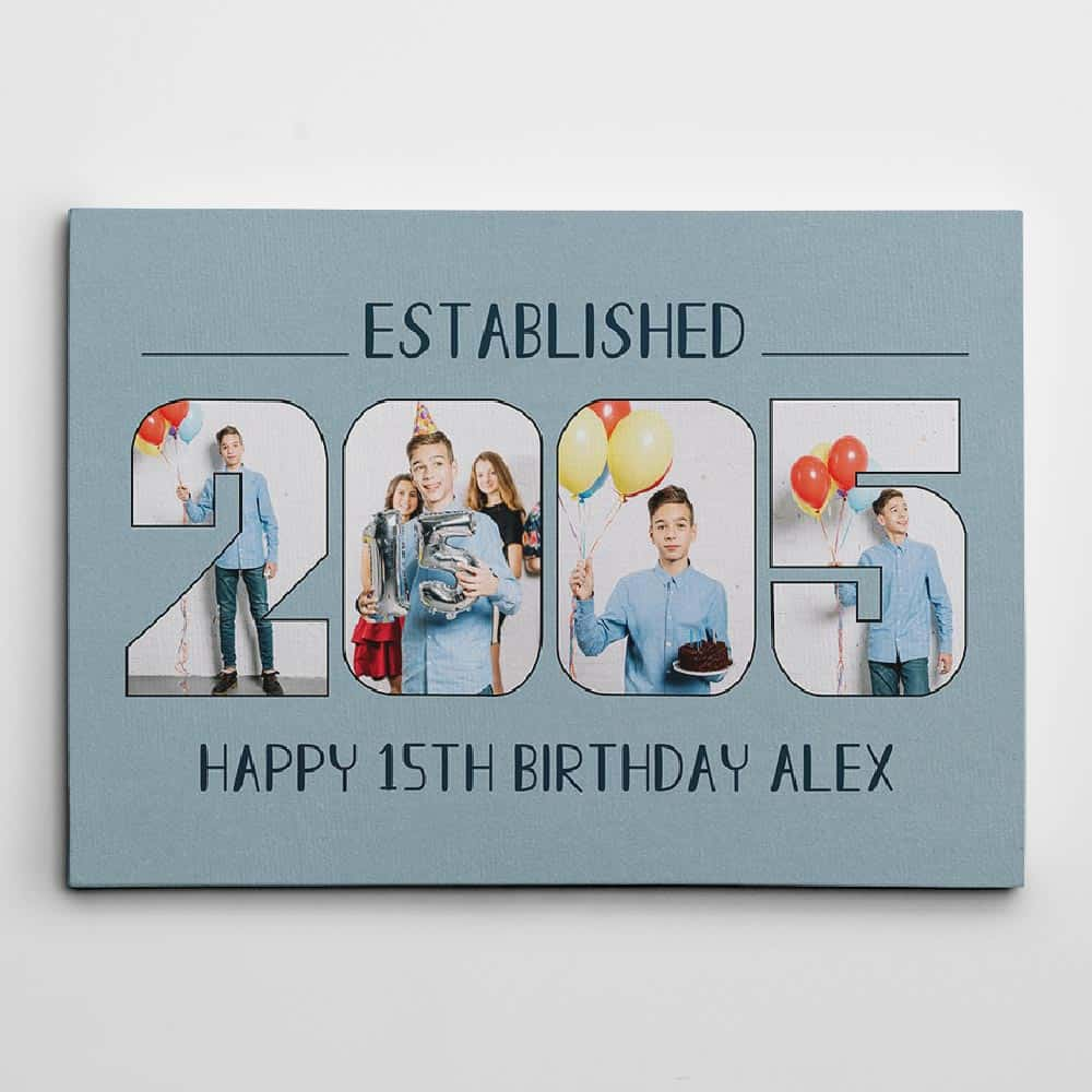 Custom Established Birth Year - Birthday Photo Canvas Print - Design A