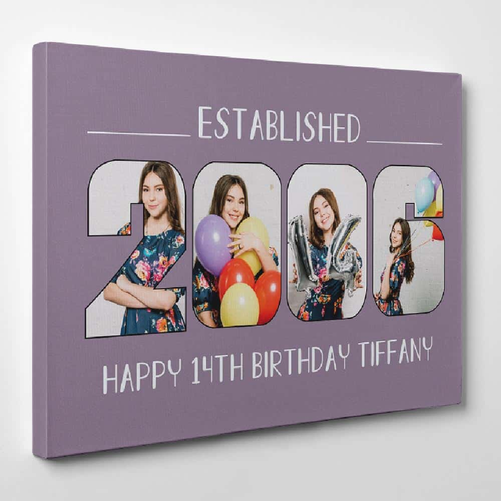 Custom Established Birth Year - Birthday Photo Canvas Print - Design B