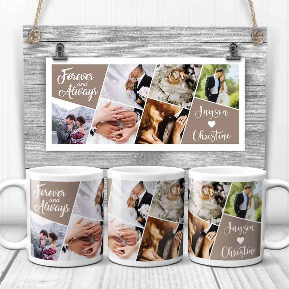 Forever And Always Custom Photo Collage Mug