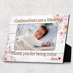 Godmothers Are A Blessing Thank You For Being Mine Custom Photo Baby Desktop Plaque