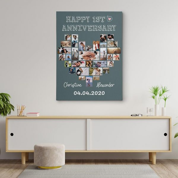 Happy First Anniversary Photo Collage Custom Canvas Print