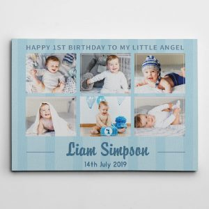 happy 1st birthday baby boy custom photo collage canvas print