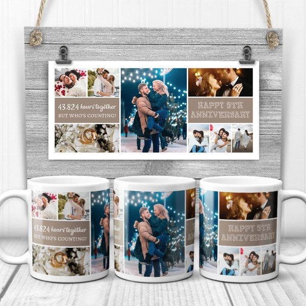 Happy 5th Anniversary Custom Photo Collage Mug