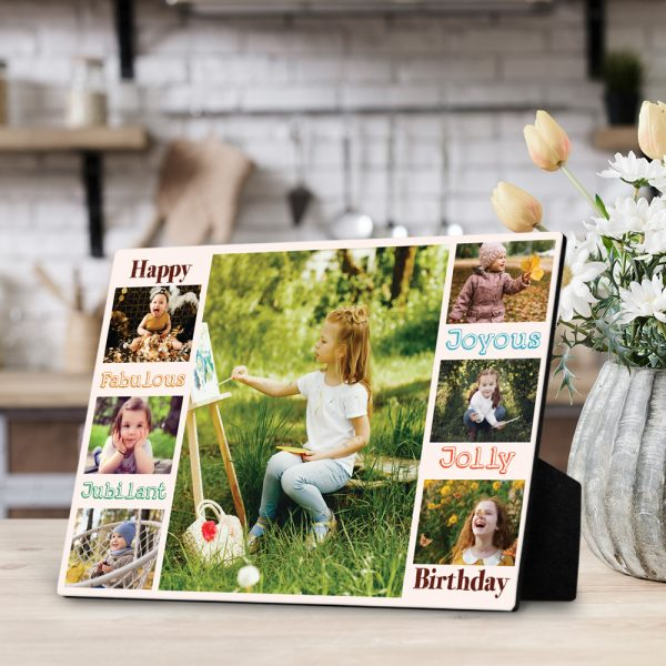 Happy - Joyous - Fabulous - jolly - jubilant - Birthday photo desktop plaque