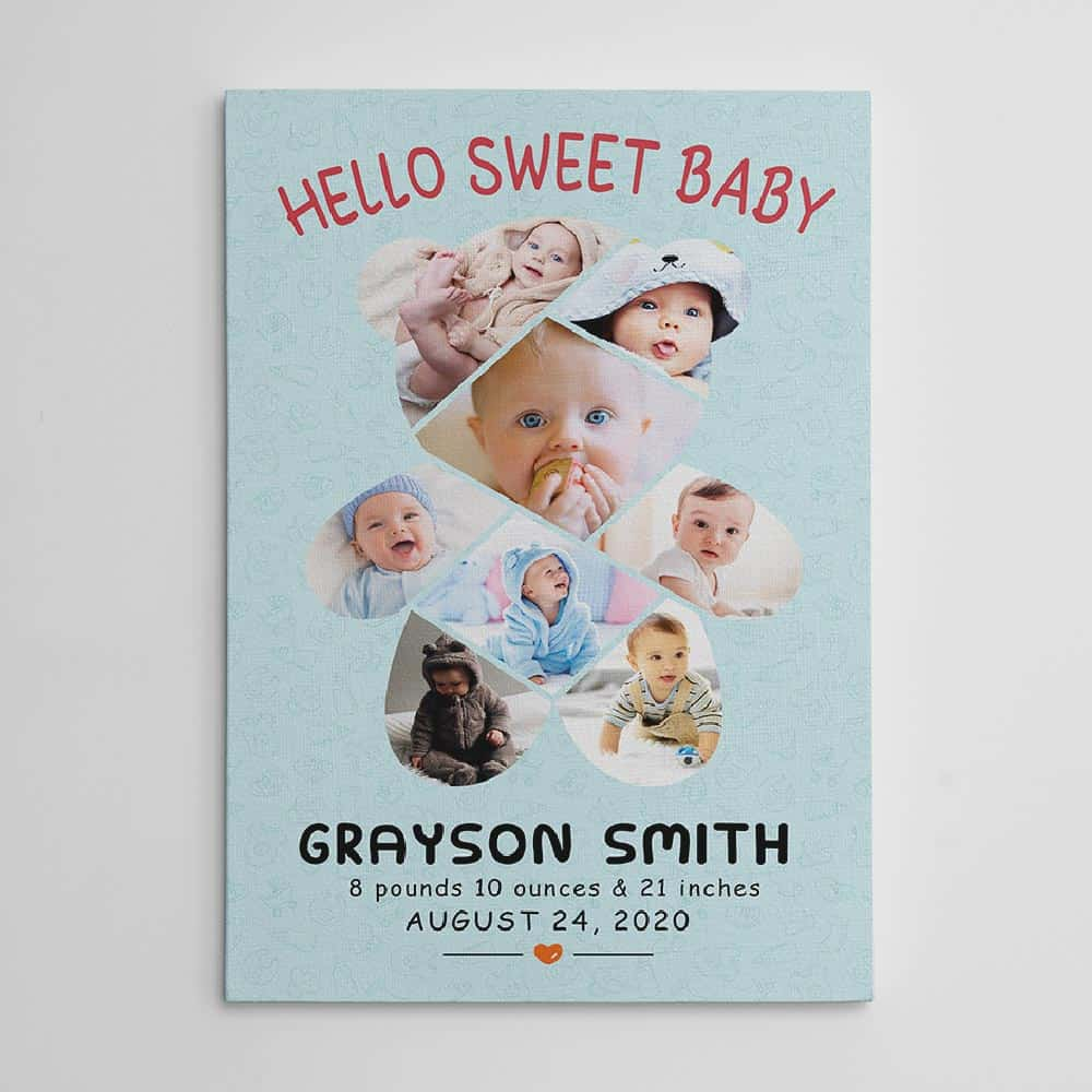hello sweet baby canvas print - gift idea for new parents