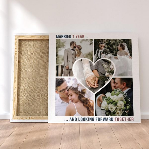 Married 1 Year And Looking Forward To Forever Anniversary Custom Photo Canvas Print