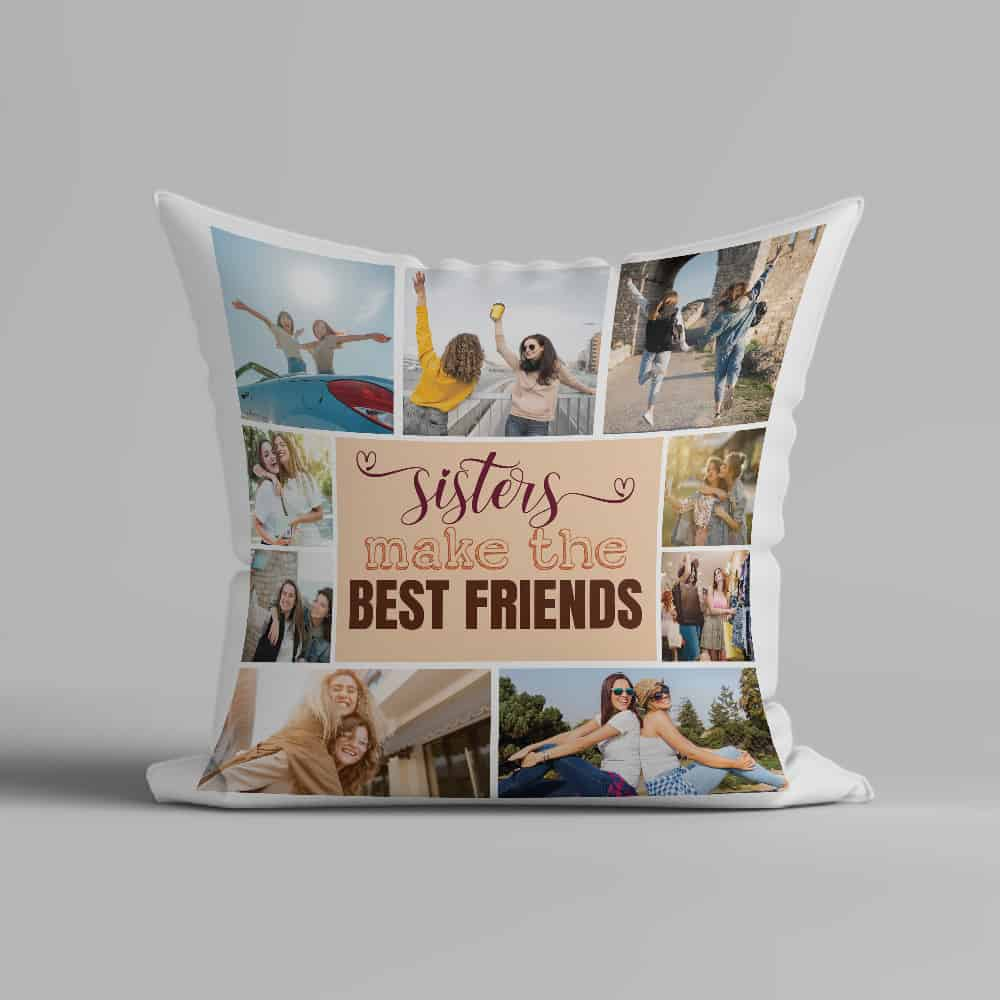 Sisters Make The Best Friends Photo Collage Throw Pillow
