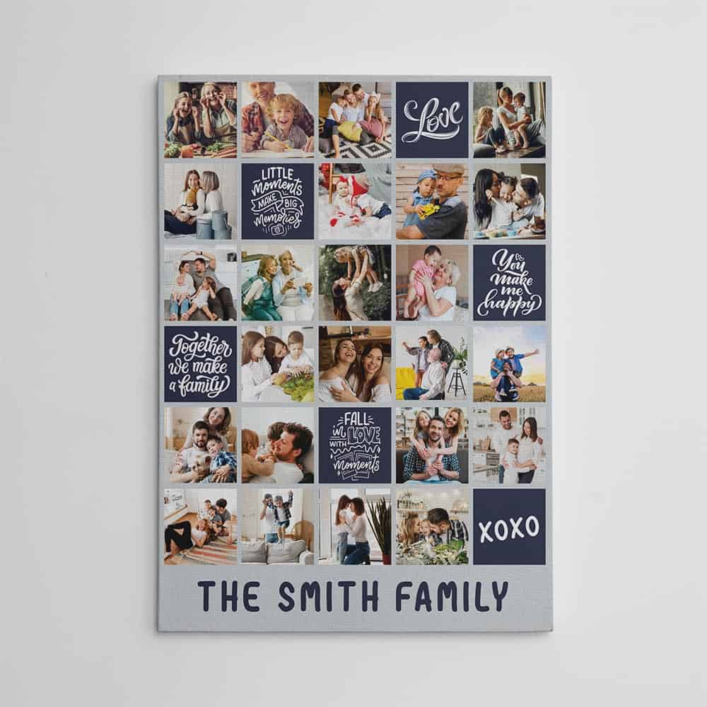 A family photo collage canvas print with color blocks and 15 photos