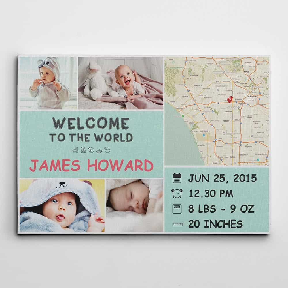 welcome to the world personalized photo canvas with baby birth stats and photos