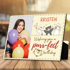 Wishing You a Purr-fect Birthday custom photo desktop plaque