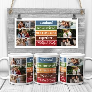 woohoo we survived our first year together custom photo mug - 1st anniversary gift idea