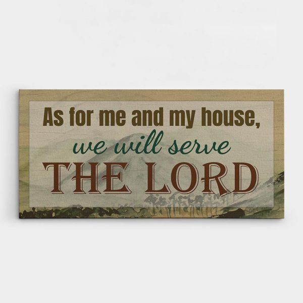 as for me and my house we will serve the Lord christian wall art canvas sign