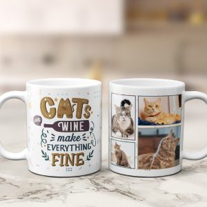 a personalized photo collage mug with the funny quote Cats And Wine Make Everything Fine