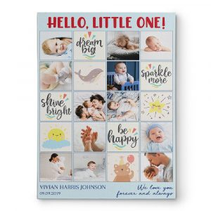 hello, little one custom photo collage canvas print