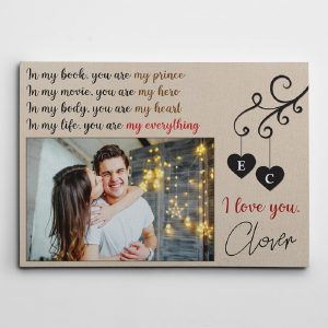 In My Book You Are My Prince Custom Photo Canvas Print