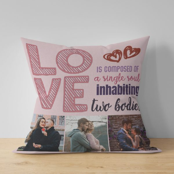 Love is composed of a single soul inhabiting two bodies photo pillow