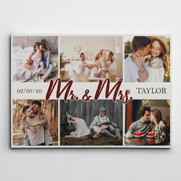 Mr And Mrs Custom Photo Collage Canvas Print