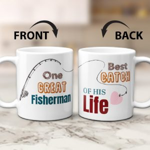one great fisherman - best catch of his life couple mugs