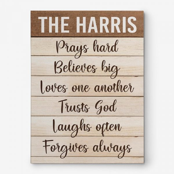 Family Prays Hard Believes Big Loves Wall Art