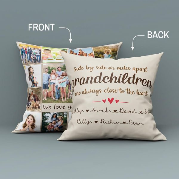 Side By Side Or Miles Apart Grandchildren Always Close To The Heart Custom Photo Collage Suede Pillow