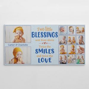 Two Little Blessings Twice The Smiles And Twice The Love Twin Baby Custom Photo Canvas Print