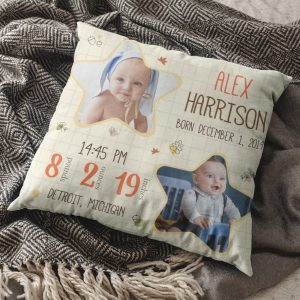 baby birth stats personalized pillow