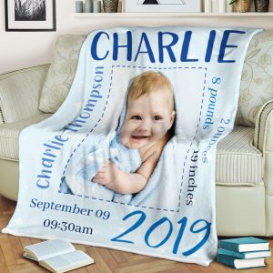 The birth stats photo blanket