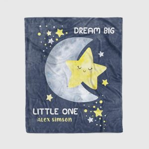 Dream Big Little One Custom Name Blanket