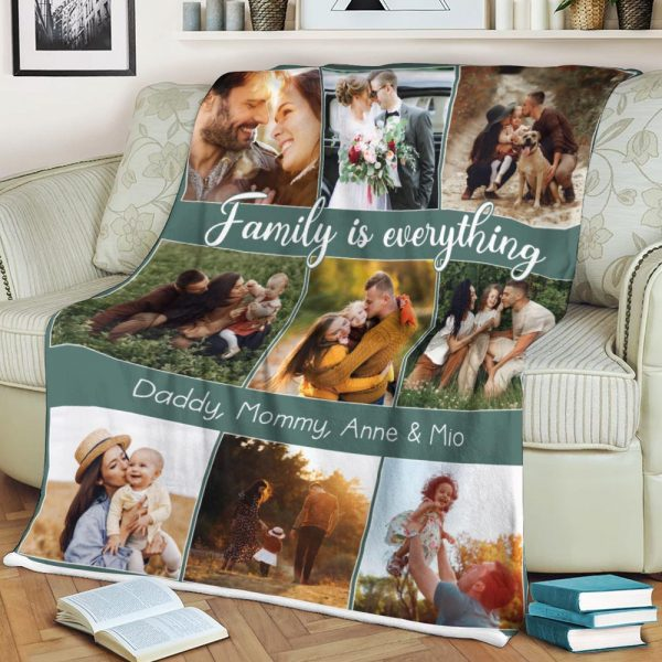 family is everything personalized photo blanket