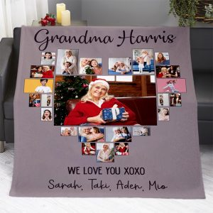 Grandma Name Photo Collage Heart Shaped Blanket