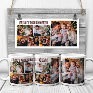 Merry Christmas Custom Photo Collage Mug