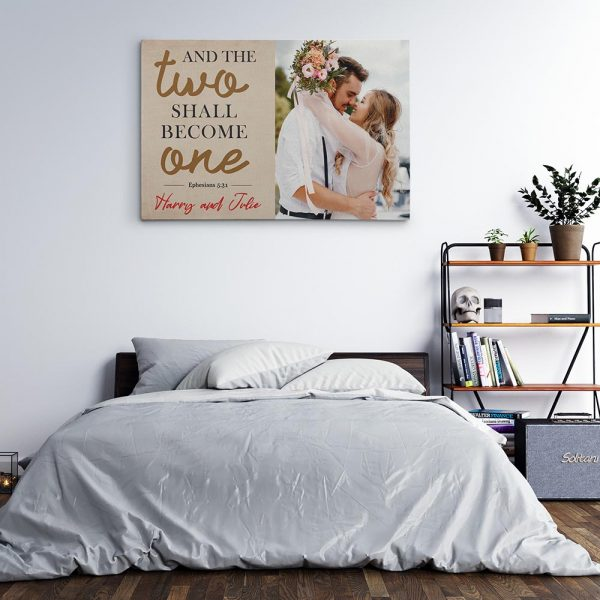 And The Two Shall Become One Custom Photo Canvas Print Above A Bed