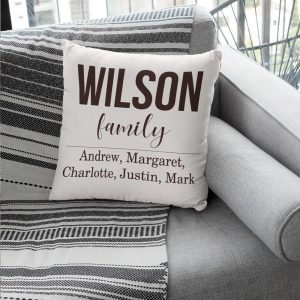 personalized family name suede pillow