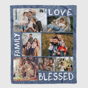 Family Love Blessed custom photo blanket