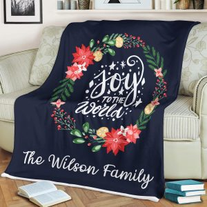 Joy To The World Custom Family Name Blanket