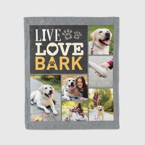 live love bark custom photo blanket