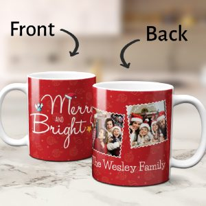 Merry And Bright Custom Photo Family Mug