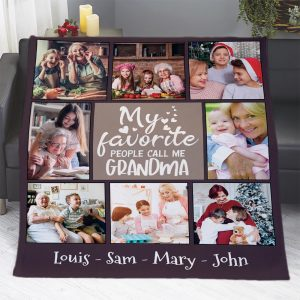 My Favorite People Call Me Grandma Photo Collage Blanket
