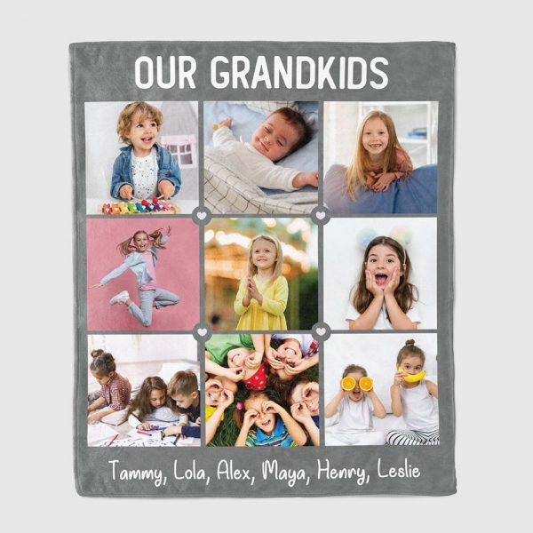 Our Grandkids Photo Collage And Name Blanket