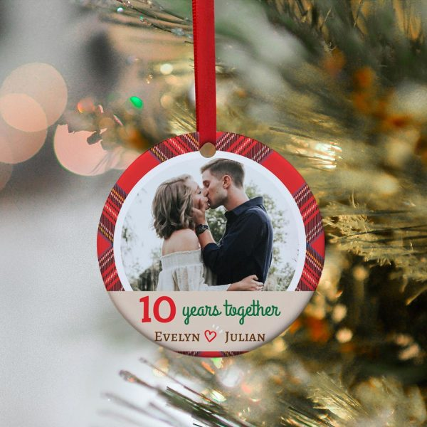 10 years together custom photo ornament