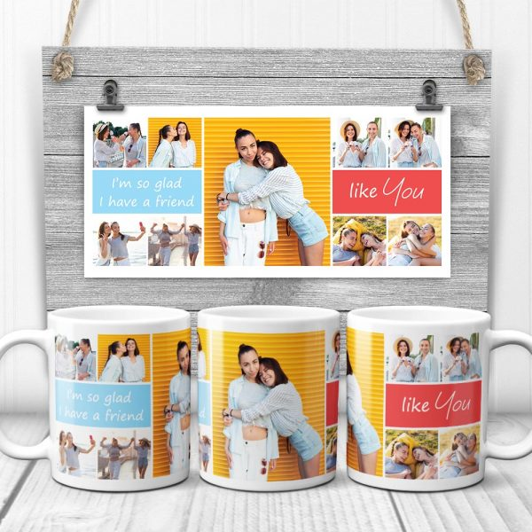 gift for best friend: I'm so glad that I have a friend like you photo collage mug