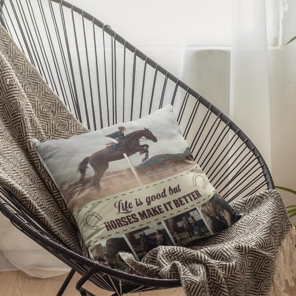 Life Is Good But Horses Make It Better Custom Photo Collage Pillow
