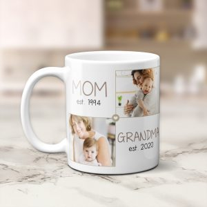 Mom Est & Grandma Est custom photo mug - gift for new grandma