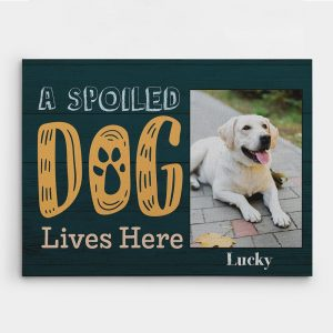 A spoiled dog lives here custom canvas print