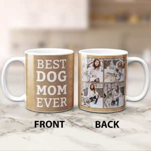 Best Dog Mom Ever Custom Photo Collage Mug